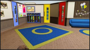 The blue door is class 1, the yellow door leads to the bathrooms and the red door is to Lillian's office/RT room
